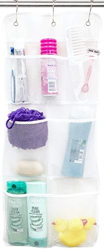 SundT Inc. Hängender Duschvorhang-Organizer mit schnell trocknendem Netz, 7 Taschen für Toilettenartikel, Shampoos, Seifen & Puffs, 35,6 x 76,2 cm, Weiß