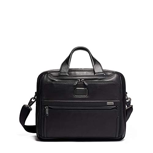 TUMI - Alpha 3 Organizer Leather Laptop Briefcase - 15 Inch Computer Bag for Men and Women - Black