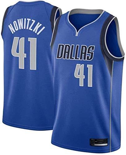 WHYYT NBA-Trikots der Männer - Dallas Mavericks NBA # 41 Dirk Nowitzki Basketball-Jersey - Unisex Bequeme bestickte atmungsaktive ärmellose Weste,D,L(175~180CM/75~85KG)