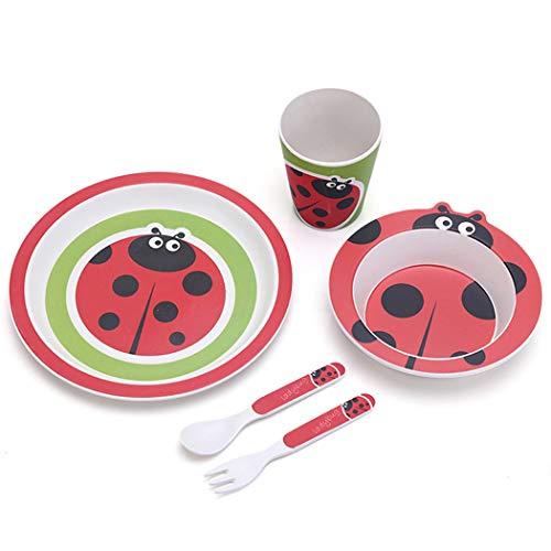ZT Set vajilla Infantil de bambú sin BPA, 5 Piezas, Servicio de Mesa cubertería para niños Vaso de Beber Plato para niños, Ecológico y Biodegradable. (Mariquita)