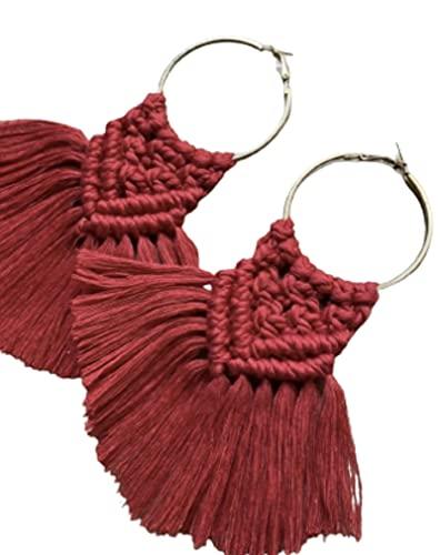 Artesanía con amor un bonito juego de 2 pendientes de peso ligero en dos colores, mostaza y rojo