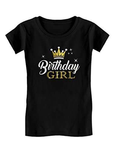 Birthday Girl Party Shirt Princess Crown Girls Fitted T-Shirt M (5-6T) Black
