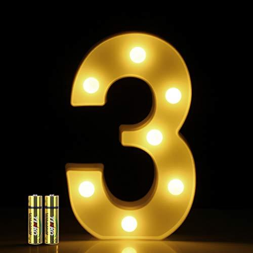 HONPHIER® Números LED Letras Luminosas Decorativas DecoracióN Luminosa Hogar Lámpara LED con número 0 a 9 para decoración de Fiestas de cumpleaños o Bodas (3)