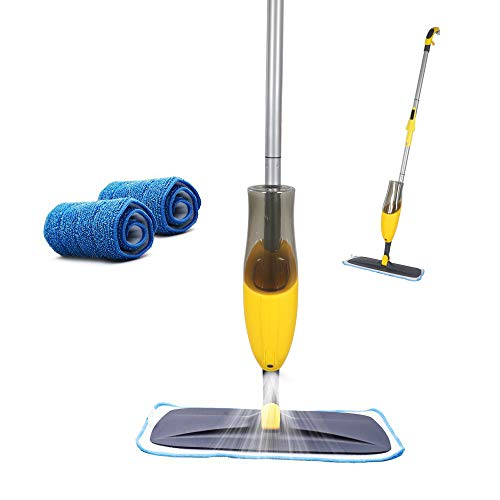 Yocada Microfiber Spray Mop for Hardwood Ceramic Marble Tile Laminate Home Kitchen Floor Cleaning Wet and Dry Easy Wring with 2 Washable Mop Pad 600ml