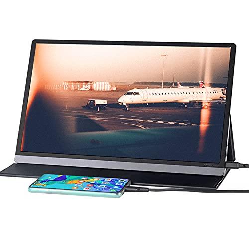 WLOWS Monitor De Pantalla Táctil Portátil 4K,Pantalla Táctil IPS UHD De 3840X2160 De 15,6 Pulgadas con USB C/HDMI,HDR,Carga PD,100% Adobe RGB De 10 bits En Color,Altavoces,Montable,con Funda De Piel