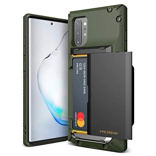 VRS DESIGN Damda Glide Pro for Samsung Galaxy Note 10 Plus, with Premium Sturdy Semi Auto Card Wallet for Galaxy Note 10 Plus 5G Case 6.8 inch(2019)… (Green)