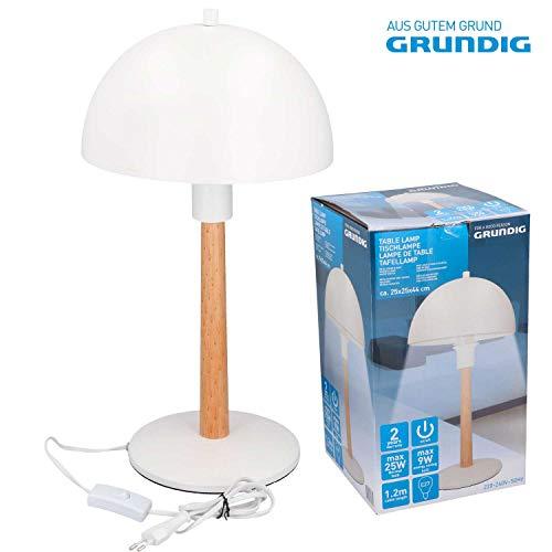 Grundig tafellamp met houten voet en metalen kap 07031