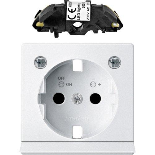 Merten MEG2334-0419 Erweiterungsset LED Beleuchtung für SCHUKO-Steckdosen, polarweiß, System M