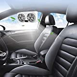 USB Car Fan, Auto Air Vent Fan Automobile Vehicle Cooling Fan Powerful Quiet Ventilation Electric Car Fans with 3 Speed Dual Head,Cooling Air Circulator Fan for Car/Vehicle,White