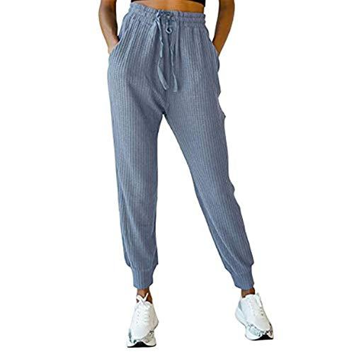 Hhckhxww OtoñO E Invierno Deportes Y Ocio Pantalones De SuéTer De Bolsillo De Gofres Pantalones De Mujer