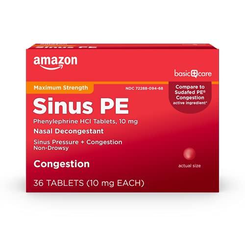 Amazon Basic Care Maximum Strength Nasal Decongestant PE,...
