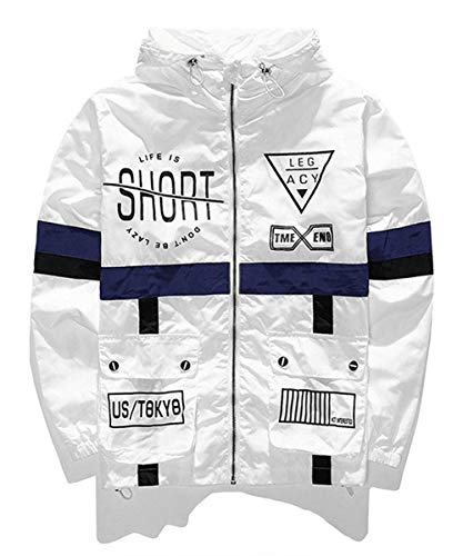 AITFINEISM Men's Lightweight Windbreaker Casual Color Block Jacket with Hooded (Large, White)
