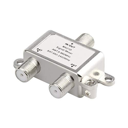 Ballylelly Resistente al Agua 2 en 1 2 vías Divisor satelital Cable de señal de TV Mezclador de señal de TV Diplexor Sat/Ant