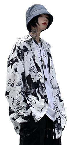 DeBangNiレディース シャツ ゆる リネン 花柄 長袖シャツ ブラウス 春服 ワイシャツカジュアル カットソー トップス 韓国風 原宿系 bf風 ホワイト