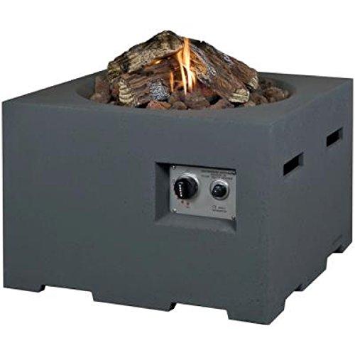 M A N I A Feuertisch für den Garten - Gas Feuerstelle ohne Rauch, Funken, Glut & Asche - Gaskamin Outdoor mit 12 kW in Betonoptik grau 60 x 60 x 40 cm - Gasfeuerstelle Terrassenkamin Kaminfeuer