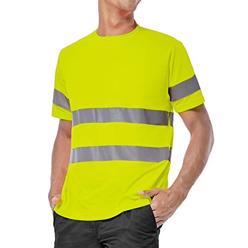 ShyaWorld Camiseta Trabajo Reflectante Alta Visibilidad homologada Seguridad (Amarillo Reflectante, M)
