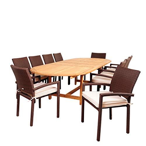 International Home Miami Amazonia Hillside 11 Piece Teak/Wicker Double-Extendable Oval Dining Set with Off-White Cushions