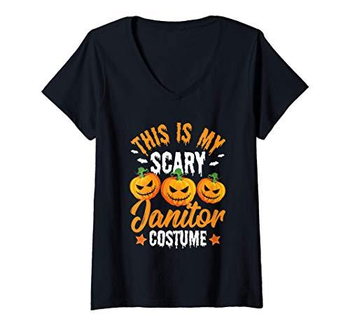 Mujer Este es mi espantoso disfraz de conserje calabaza de Camiseta Cuello V