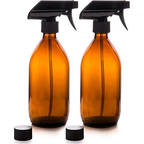 Botella De Rociado De Agua De Vidrio Amber Mir Speert Trick Spray Botella Reuteble para Productos De Limpieza De Cuidado De La Belleza Bio 2pcs 500ml