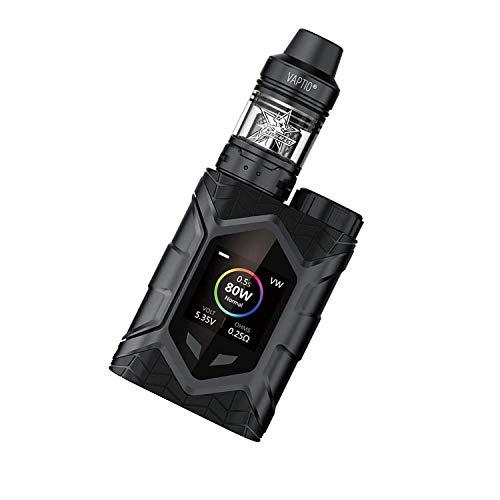Vaptio Wall Crawler Vape KIT avec réservoir Frogman de 2,0 ml et cigarette électronique de 80 W TCR Mod Écran TFT de 1,3 pouces sans batterie sans liquide sans nicotine (Noir)