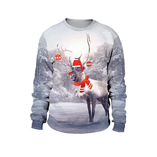 U LOOK UGLY TODAY Unisex Sweatshirt Large, Snow Reindeer 02