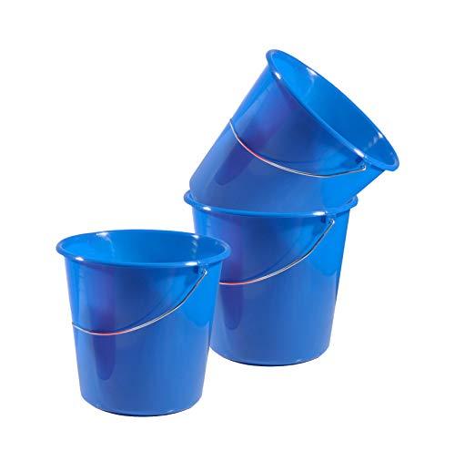 Gies 3 Stück 10 Liter Putzeimer mit Skala Eimer Kunststoff Wassereimer Wischeimer Scheuereimer