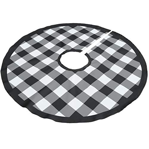 Viowr22iso Christmas Tree Skirt 122 cm, Black and White Buffalo Checks Pattern Large Xmas Tree Mat Farmhouse Christmas Decoration Tree Ornaments for Seasonal Holiday Party