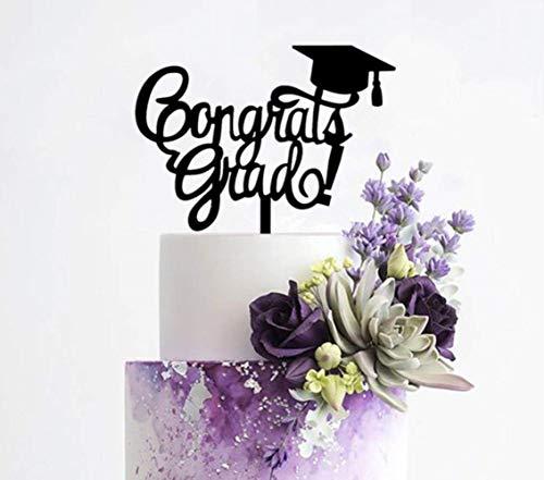 Gefeliciteerd Grad Cake Topper - Klasse van Afgestudeerde Partij Decoraties benodigdheden - Hoge School Afstuderen, College Afgestudeerd Topper, ZWART