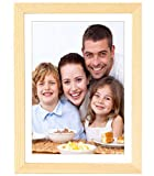 Gocomcom 6x8 Picture Frames Freestanding and Wall Mountable, Solid Wood Photo Frame with HD Plexiglass, Wood Color