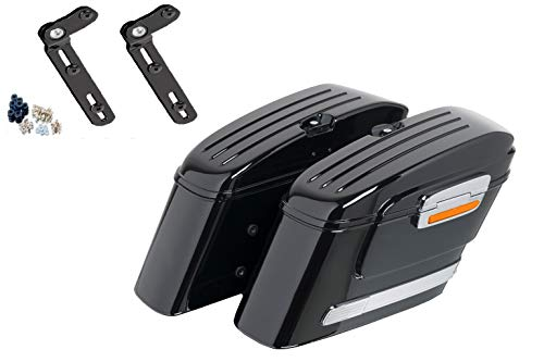 Fantastic Prices! Customacces AZ0770N Hard Saddlebags American (Pair) 22L. + Mounting Kit Triumph Th...