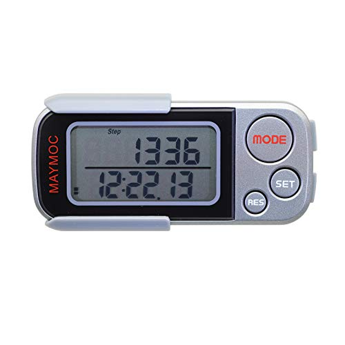 MAYMOC Podómetro 3D y rastreador de Pasos para Pasos a pie Millas/Km Clip portátil preciso en Sports Fitness Daily Target Monitor
