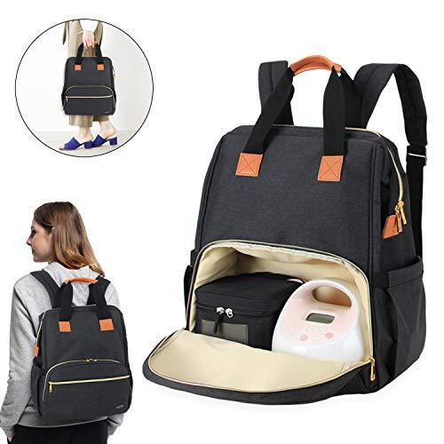 Teamoy Sac à dos tire-lait compatible pour Spectra S1, S2, Medela et glacière, Sac de rangement pour tire-lait avec housse d'ordinateur portable pour les mères qui travaillent, Noir