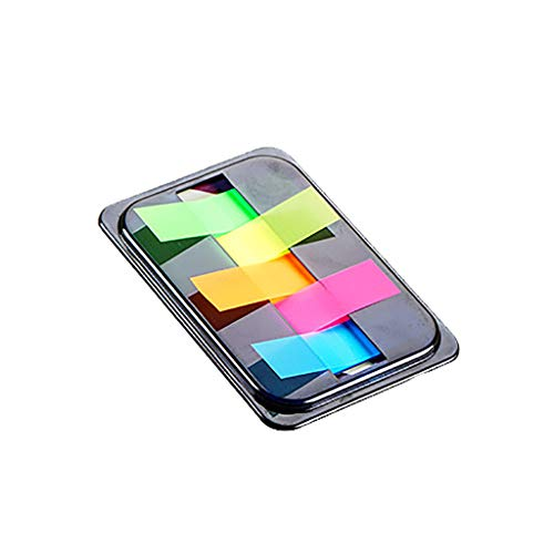 Easytoy Portable Sticky Notes with Flags, Gradient Color Tabbed Self-Stick Note Pad, Assorted Neon Colors Self-Stick Notes Pads with Box Super Adhesive Sticky Notes for Study, Works (C)
