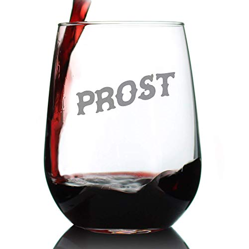 Prost - German Cheers - Stemless Wine Glass - Cute Germany Themed Gifts or Party Decor for Women and Men - Large