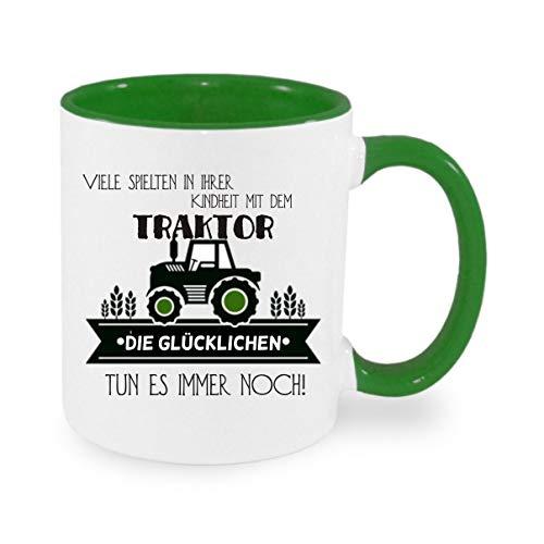 Crealuxe Viele Spielen in der Kindheit mit einem Traktor - Kaffeetasse mit Wunschname, Bedruckte Tasse mit Sprüchen oder Bildern, Bürotasse,