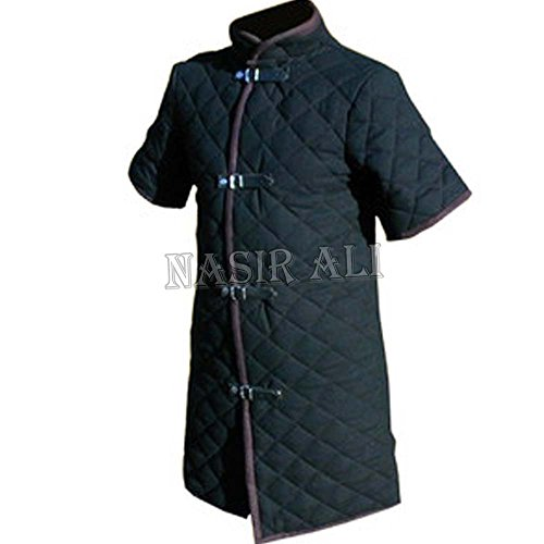 NASIR ALI Thick Black Color Viking Gambeson Medieval Padded Collar Short Sleeves Armor