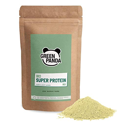 Green Panda® Supergreen Mix, proteina vegana con 70% de vegan protein en polvo: sabor neutro, 3 fuentes de proteina vegana (proteina de semillas de cañamo, de pipas de calabaza y rice protein),500gr