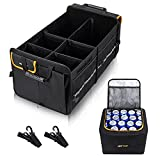 Heytrip Sturdy Trunk Organizer With Leakproof Cooler Bag, 2 Adjustable Tie-Down Straps, 4 Removable Dividers, Foldable Cover, Built with 2mm PE Board