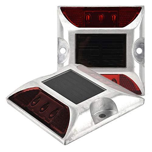 2 Unidades de Energía Solar Luces de Marcador de Tierra, 6 LED Impermeable Al Aire Libre Camino Lámpara de Perno de Carretera para Camino, Sendero, Cubierta, Muelle, Entrada, Jardín (Roja) (#1)