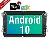 PUMPKIN Android 10 Autoradio für VW Radio mit Navi 16GB Europakarten/Integriertes DAB + Modul Unterstützt Bluetooth WiFi 4G USB MicroSD 8 Zoll Bildschirm