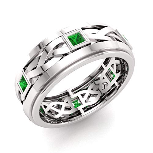 Diamondere Natural and Certified Princess Cut Emerald Wedding Band Ring in 14k White Gold | 0.60 Carat Celtic Knot Ring for Mens, US Size 8
