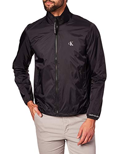 Calvin Klein Jeans Herren Nylon Harrington Sportjacke, Schwarz (Ck Black Bae), Small