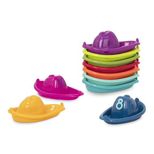 Battat – 10 Bath Boats – Numbered & Stackable Bathtime Toys – Floating Toy Boats for The Bath, Pool, Beach – Educational Toys – Stackin' Boats – 6 Months + (BT2688Z)
