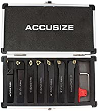 Accusize Industrial Tools 7 Pieces/Set 1/2'' Indexable Carbide Turning Tool Set in Fitted Box, 2387-2004