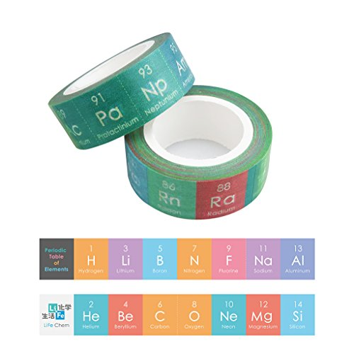 LiFe Chem Chemical Elements Washi Masking Tape Set, Creative Flash Card, Chemistry Décor, All 118 Elements, giftwrap