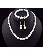 pearl set Necklace & earrings & bracelet with crystal silver rings