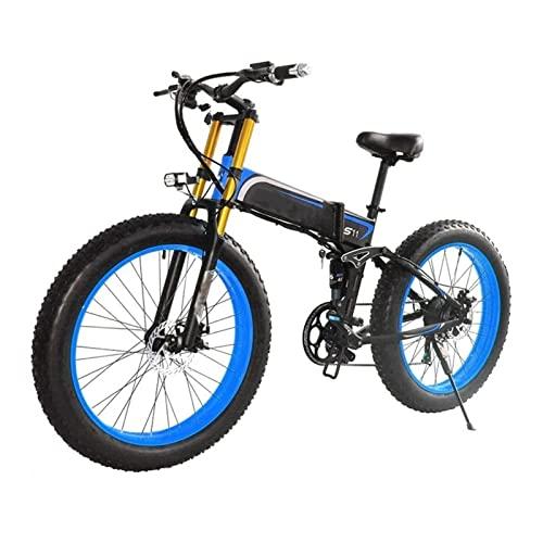 HMEI Bicicleta eléctrica para Adultos 1000W Bicicleta eléctrica de montaña Plegable 48V 26 Pulgadas Fat Ebike Motocicleta Plegable de 21 velocidades (Color : Azul)