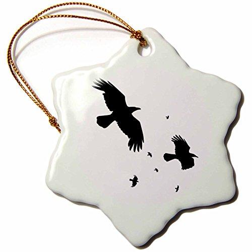 3dRose LLC ORN_78697_1 Porcelain Snowflake Ornament, 3-Inch, A Murder of Crows-Animal, Bird, Crow, Halloween, Myth, Mythology, Silhouette