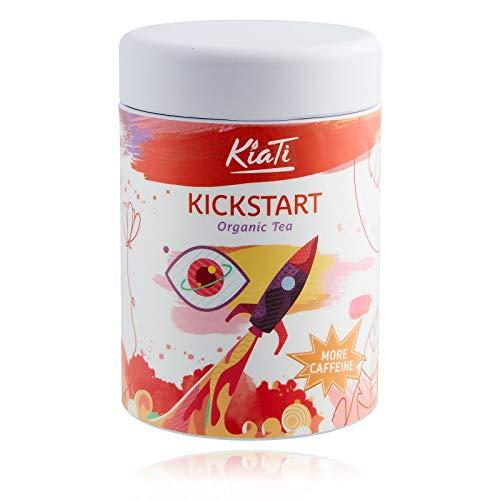 KiaTi® losse kickstart-energiethee met cafeïne 85 g / boost-up thee / stimulerend middel / als koffiesurrogaat / BIO-thee met MATE-thee / Matchapoeder / GUARANA-poeder / Moringa / groene thee Sencha