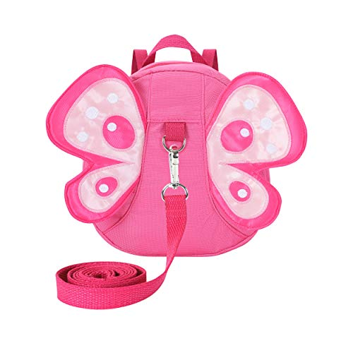EPLAZA Toddler Walking Safety Butterfly Belt Backpack with Leash Kid Child Harness Strap Bag (Pink)